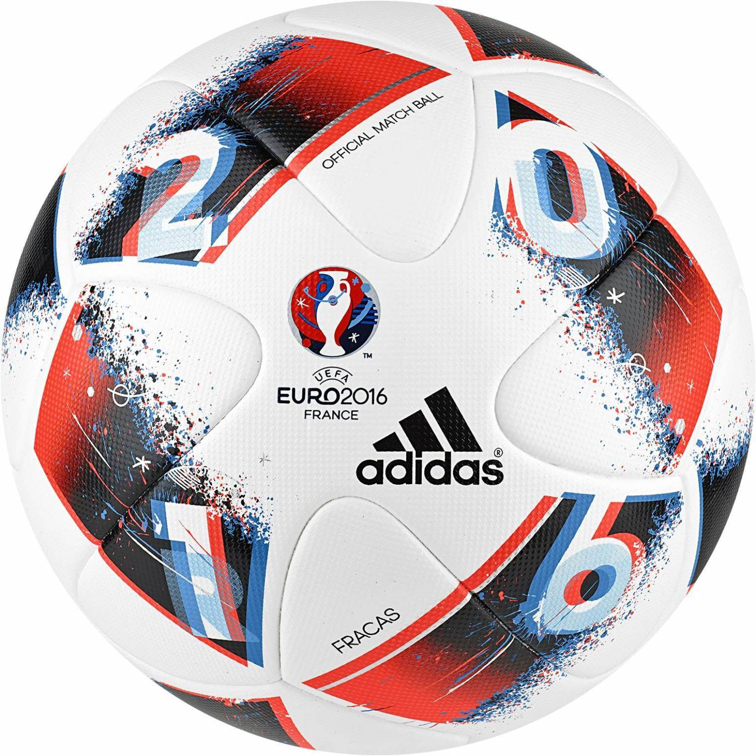 adidas Finale EURO 2016 offizieller Matchball (Größe: 5, white/bright blue/solar red/silver metallic)