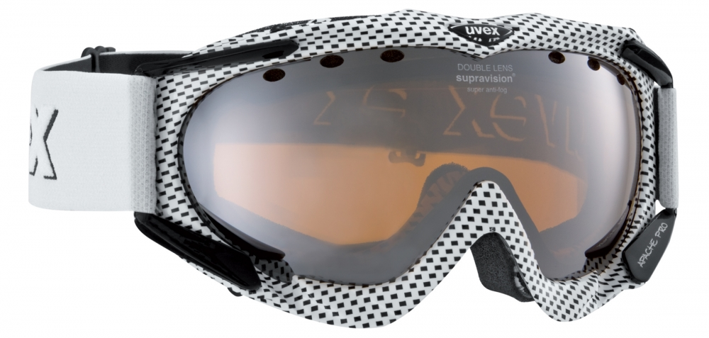 uvex Skibrille Apache Pro (Farbe: 1026 white black stripe, double lens spheric/lasergold litelitemirror silver (S3))