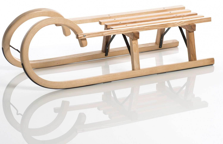 Schlitten - Sirch Hörnerrodel Standard Lattensitz (Länge 100 cm, esche lackiert 2 Bockstützen ) - Onlineshop