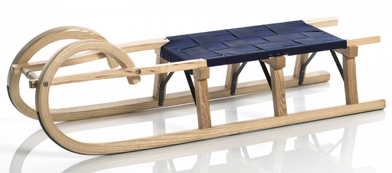 Schlitten - Sirch Hörnerschlitten Standard Plus mit Gurtsitz (Länge 115 cm, esche lackiert 3 Bockstützen ) - Onlineshop