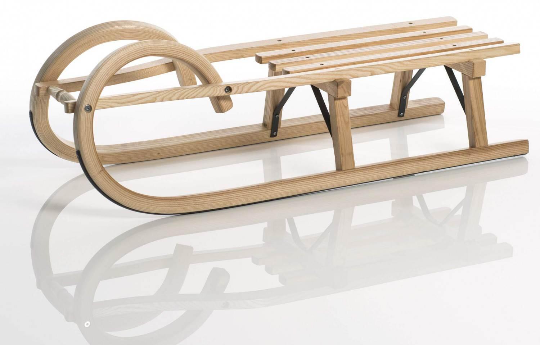 Schlitten - Sirch Hörnerschlitten Standard Plus mit Lattensitz (Länge 100 cm, esche lackiert 2 Bockstützen ) - Onlineshop