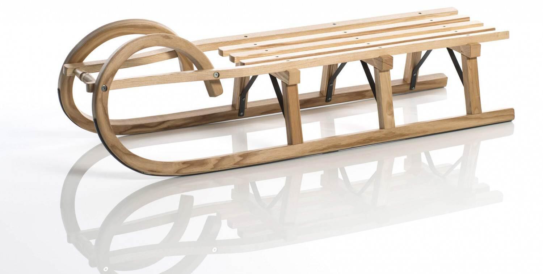 Schlitten - Sirch Hörnerschlitten Standard Plus mit Lattensitz (Länge 115 cm, esche lackiert 3 Bockstützen ) - Onlineshop