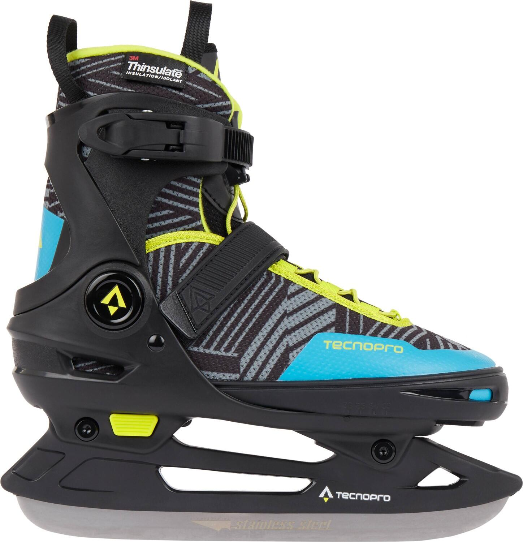 TecnoPro Flash Adj. 3 Eishockeyschuh (Größe 29.0 32.0, 900 schwarz blau grün)