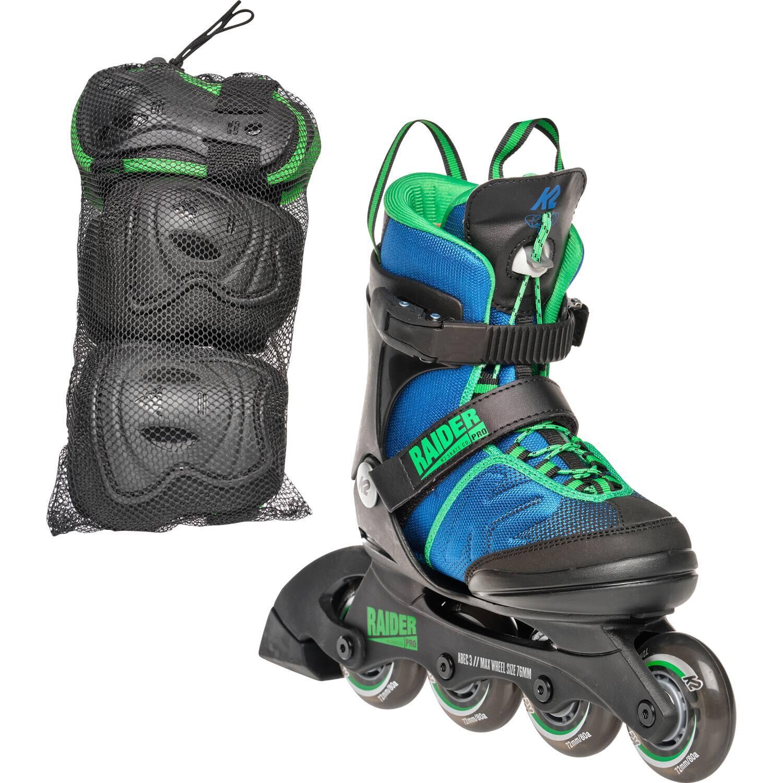 Inliner - K2 Raider Pro Pack Inlineskateset Junior (Größe 35.0 40.0 (L), blau grün) - Onlineshop