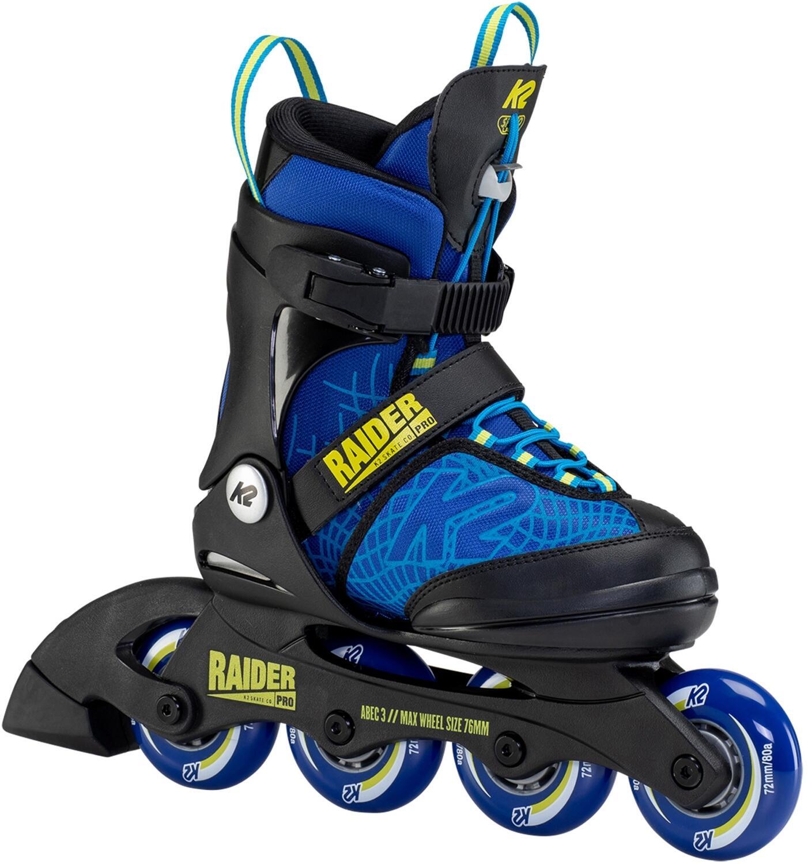 Inliner - K2 Raider Pro Inlineskate Junior (Größe 35.0 40.0 (L), blue yellow (72 er Räder)) - Onlineshop