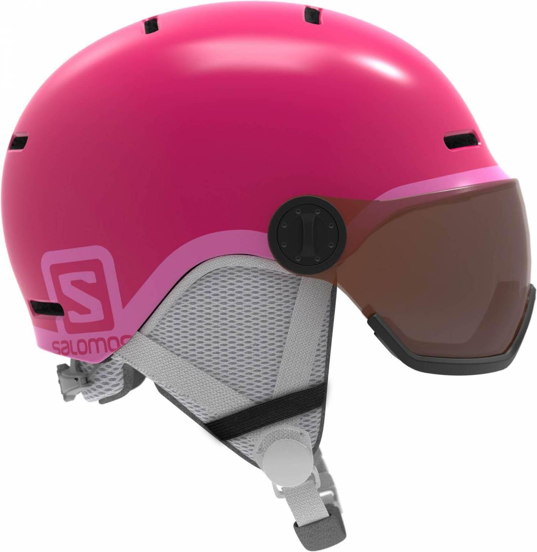 Fürski - Salomon Grom Visor Kinderskihelm (Größe 49 53 cm, glossy pink) - Onlineshop