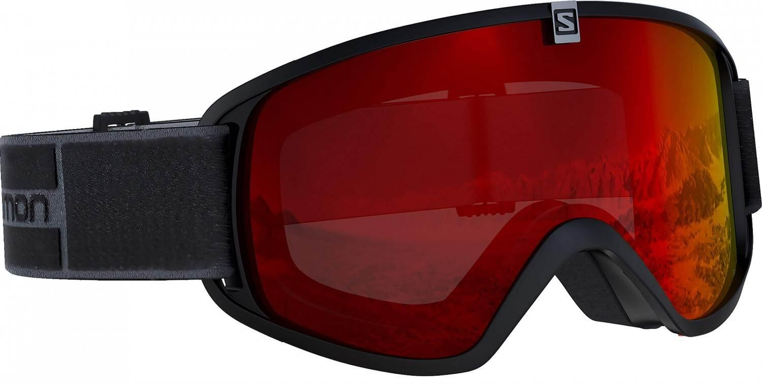 Salomon Trigger Kinder Skibrille (Farbe black, Scheibe multilayer mid red)