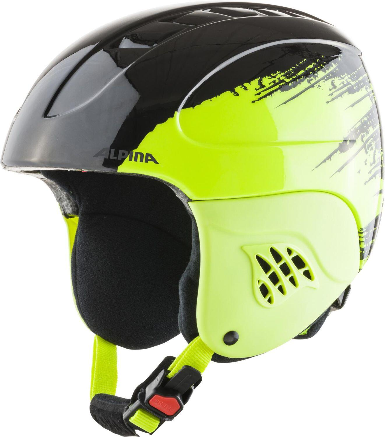 Alpina Carat Kinder Skihelm (Größe 48 52 cm, 64 black yellow gloss)