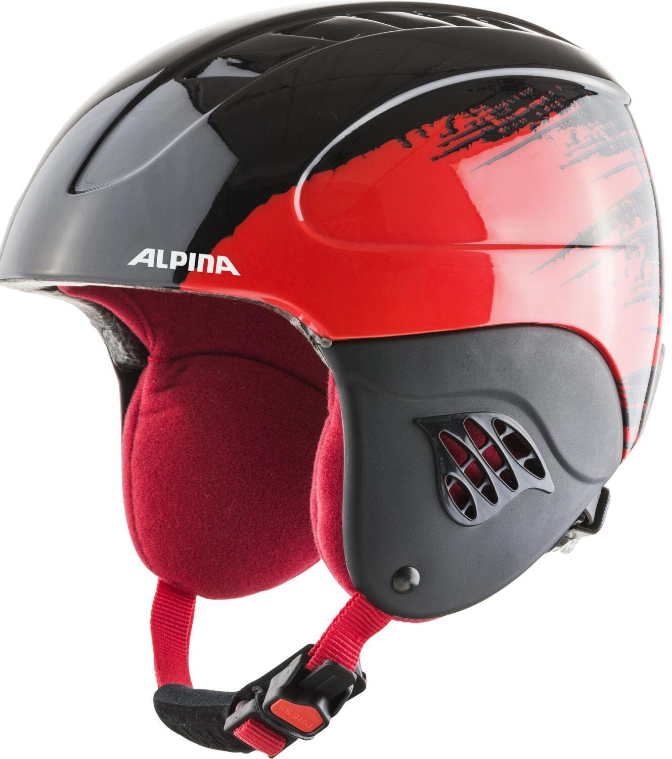 Alpina Carat Kinder Skihelm (Größe 51 55 cm, 65 black red gloss)