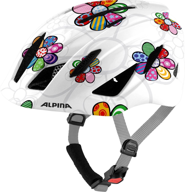 Alpina Pico Kinder Fahrradhelm (Größe 50 55 cm, 11 pearlwhite flower gloss)