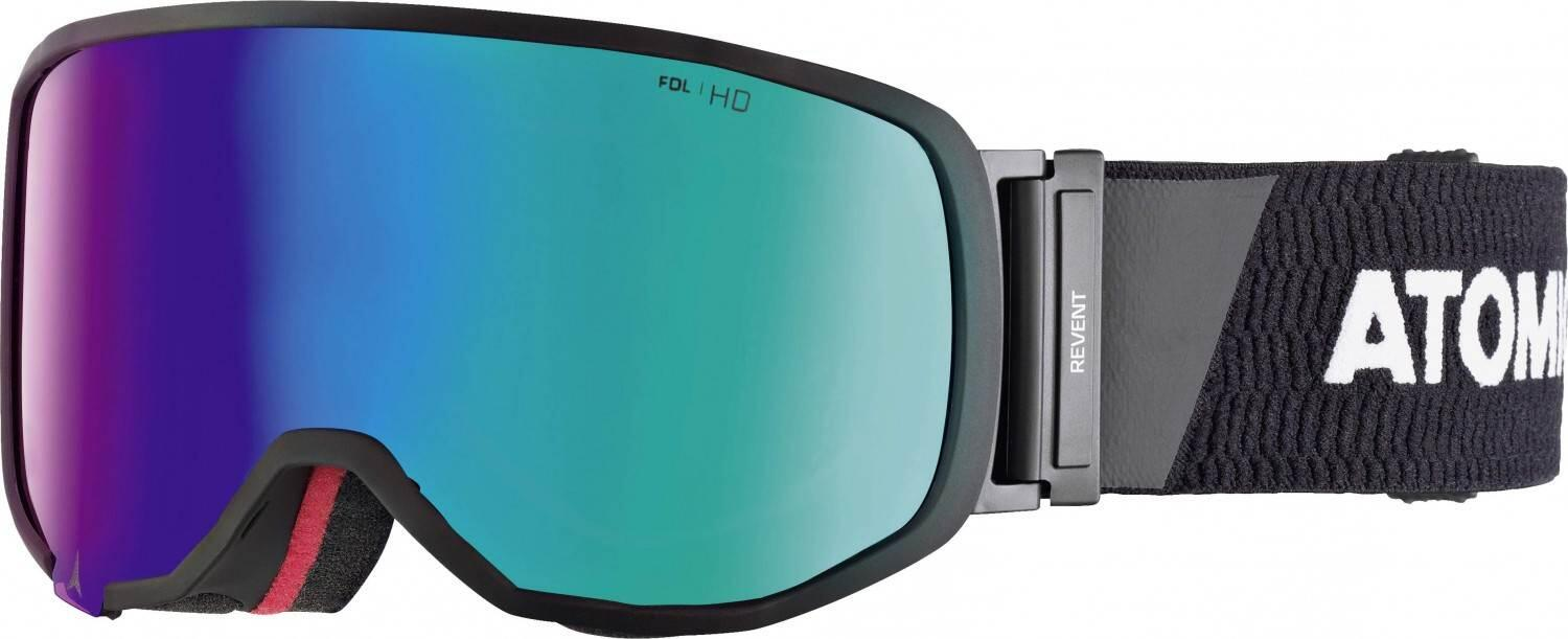 atomic-revent-small-racing-skibrille-farbe-black-white-scheibe-green-stereo-hd-