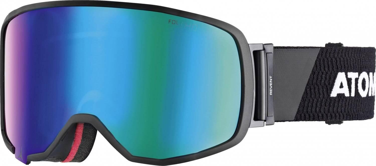 atomic-revent-large-racing-skibrille-farbe-black-white-scheibe-green-stereo-hd-