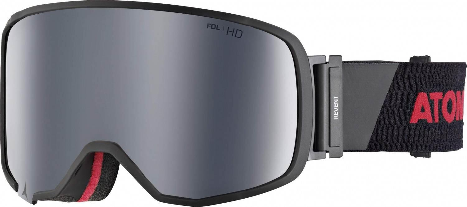 atomic-revent-large-racing-skibrille-farbe-black-red-scheibe-silver-stereo-hd-