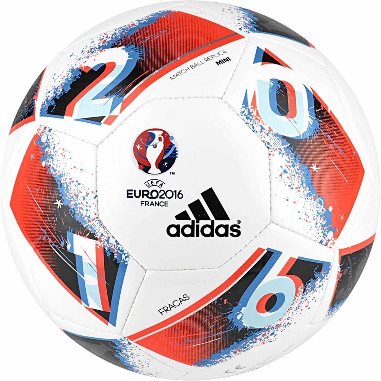 adidas Finale EURO 2016 Minifussball (Größe: 1, white/bright blue /solar red/silver metallic)