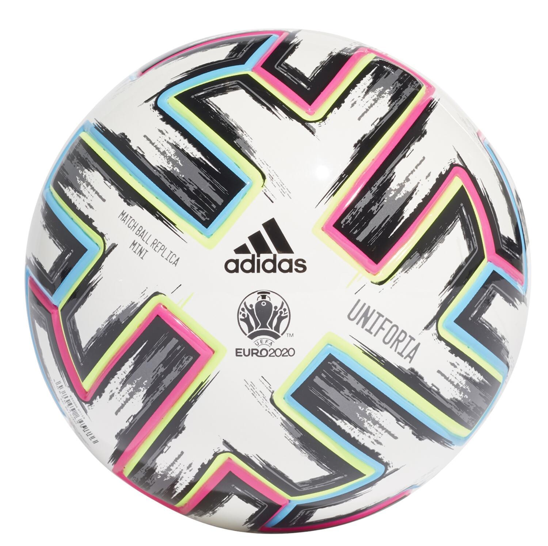 adidas Uniforia Minifussball EM 2020/2021 (Größe: 1, white/black/signal green/bright cyan)