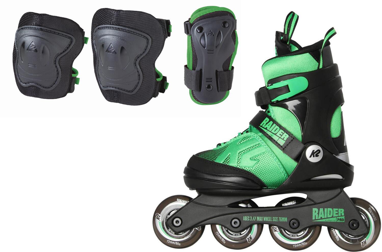 Inliner - K2 Raider Pro Pack Inlineskateset Kinder (Größe 35.0 40.0 (L), schwarz grün) - Onlineshop