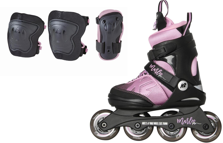 K2 Raider Marlee Pro Pack Inlineskateset Kinder (Größe 32.0 37.0, schwarz lavendel, Schützer Gr. S)