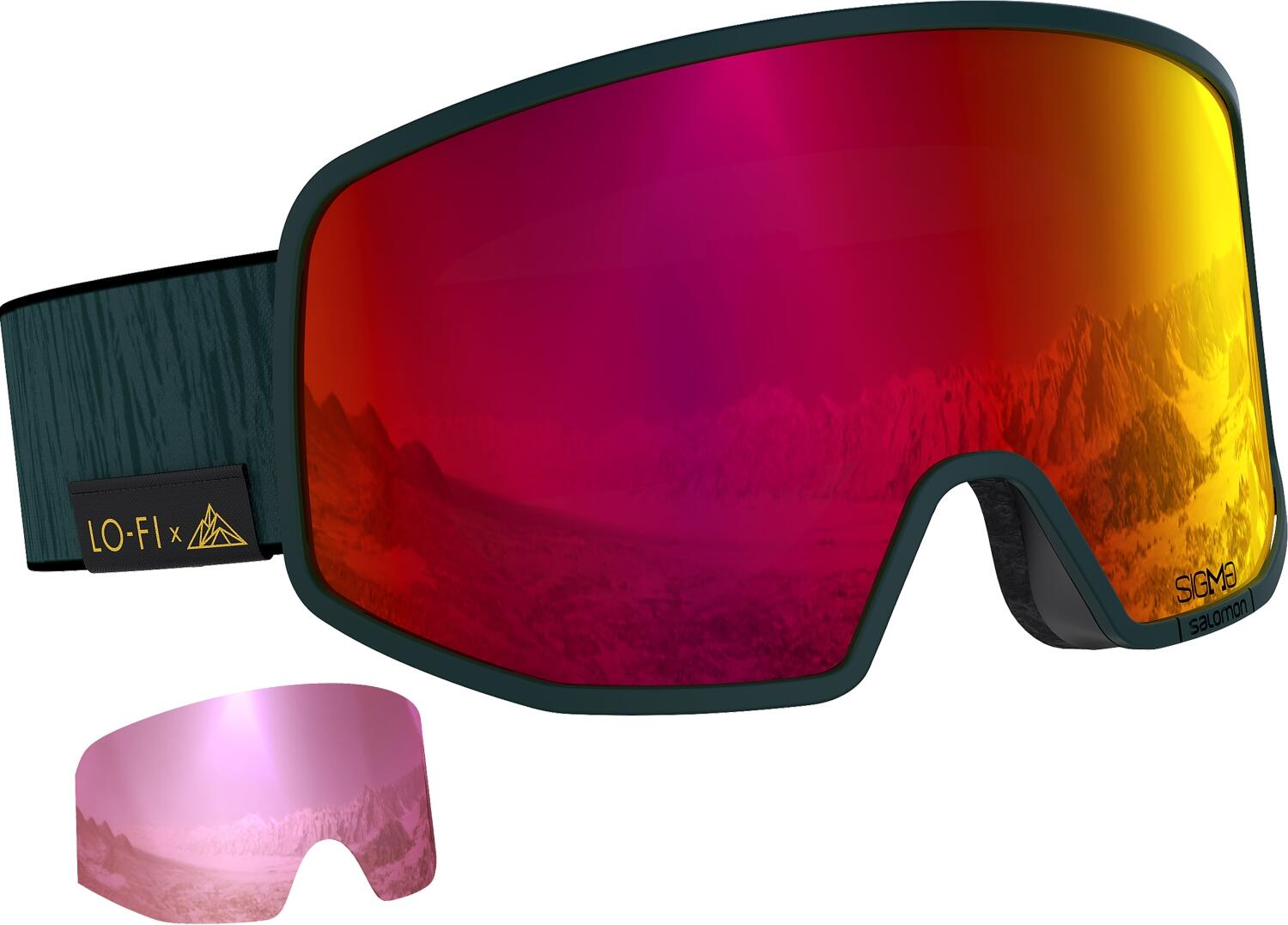 salomon-lo-fi-sigma-skibrille-farbe-green-gables-scheibe-poppy-red-extra-scheibe-silver-pink-