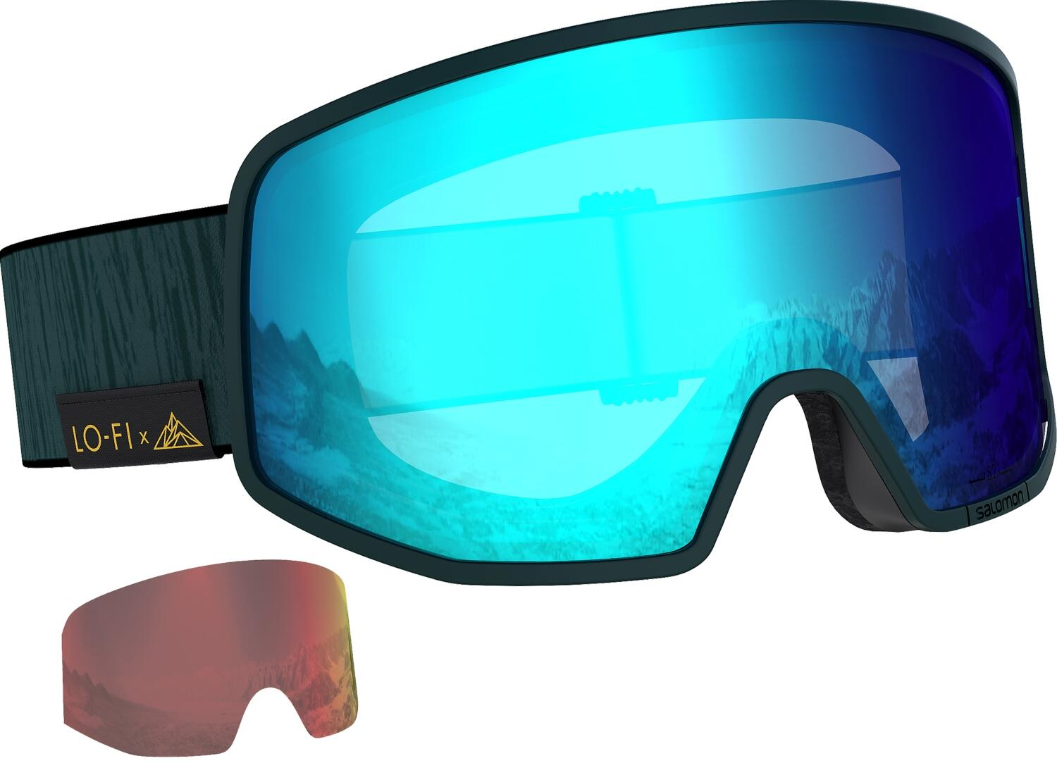 salomon-lo-fi-skibrille-farbe-green-gables-scheibe-mid-blue-extra-scheibe-mid-red-