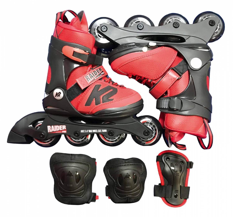 Inliner - K2 Raider Pro Pack Inlineskate Set Kinder (Größe 35.0 40.0 (L), red) - Onlineshop