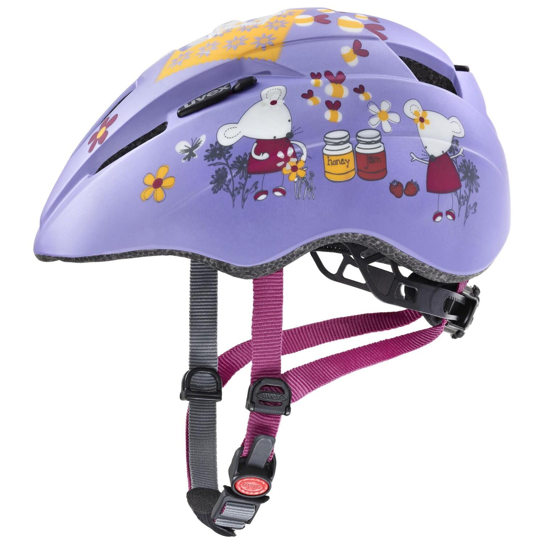 Fürfahrräder - uvex Kinderradhelm Kid 2 cc (Größe 46 52 cm, 01 lilac mouse mat) - Onlineshop
