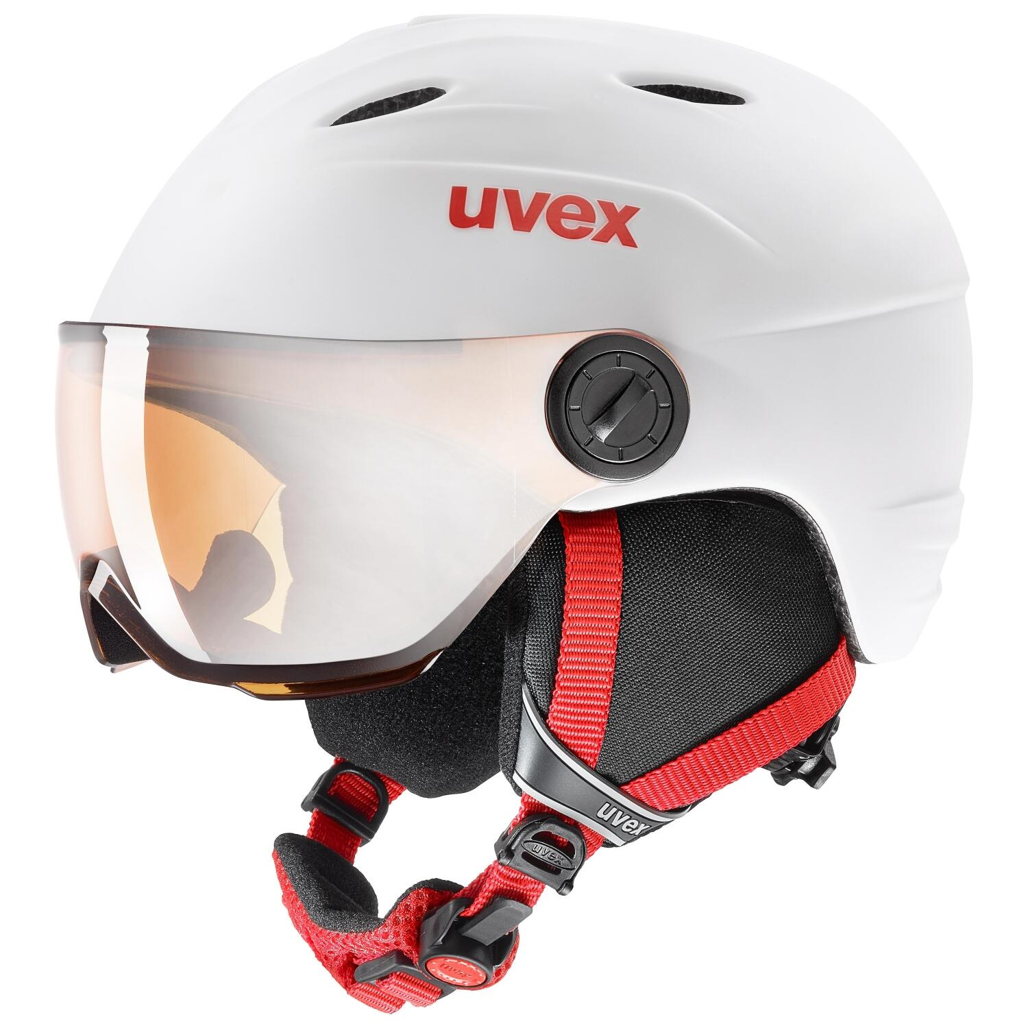 Fürski - uvex Junior Visor Pro Kinderskihelm (Größe 54 56 cm, 13 white red mat) - Onlineshop