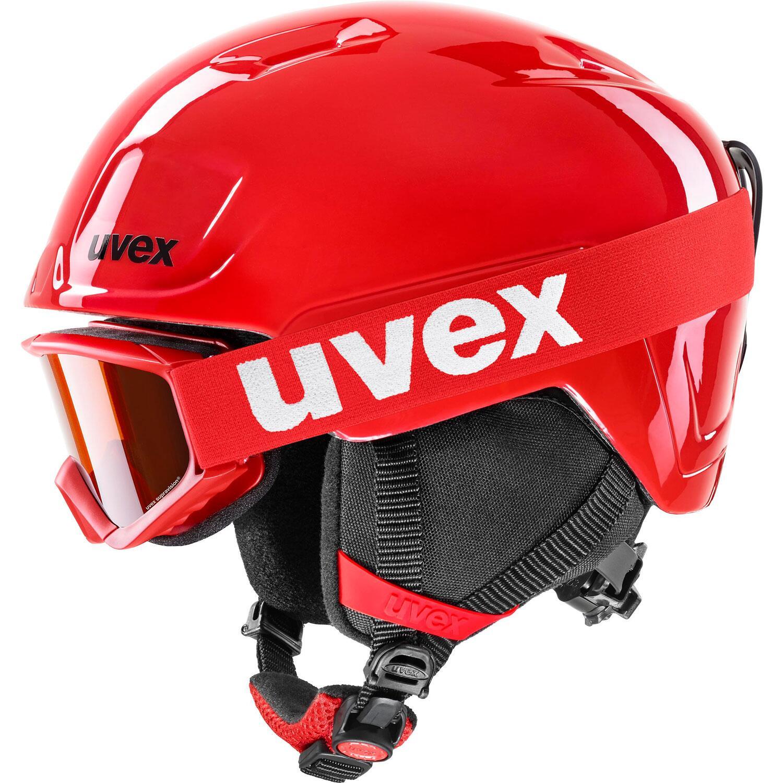 Fürski - uvex Heyya Kinder Skihelm Set (Größe 51 55 cm, 10 red black) - Onlineshop