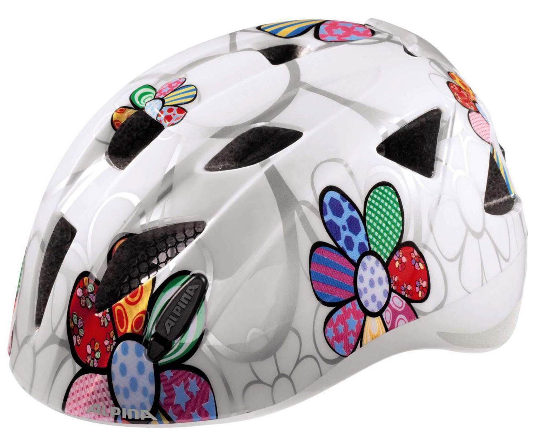 Fürfahrräder - Alpina Ximo Flash Kinderfahrradhelm (Größe 47 51 cm, 10 white flower) - Onlineshop
