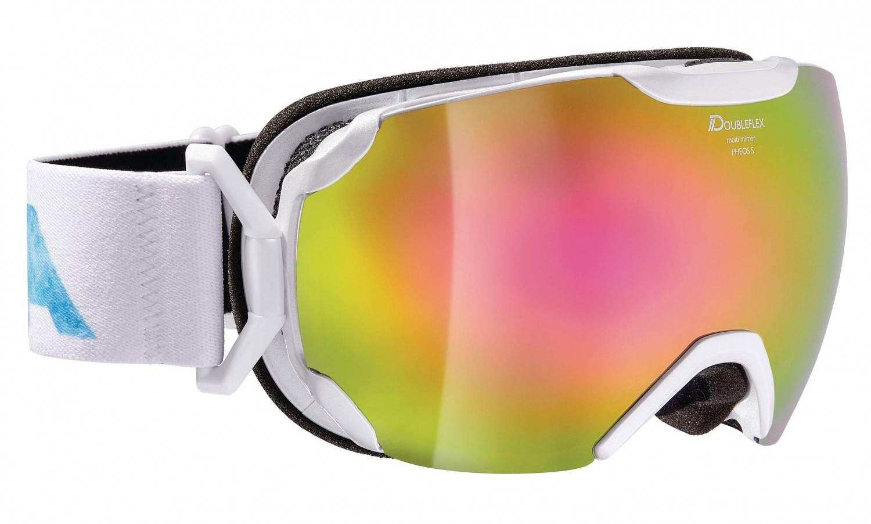 Alpina Pheos Small MM Skibrille (Farbe: 812 perlweiß, Scheibe: MULTIMIRROR pink)