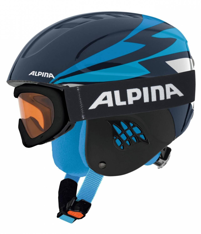 Alpina Carat Set Skihelm inklusive Skibrille (Größe: 48-52 cm, 81 nightblue inkl. Ruby S)