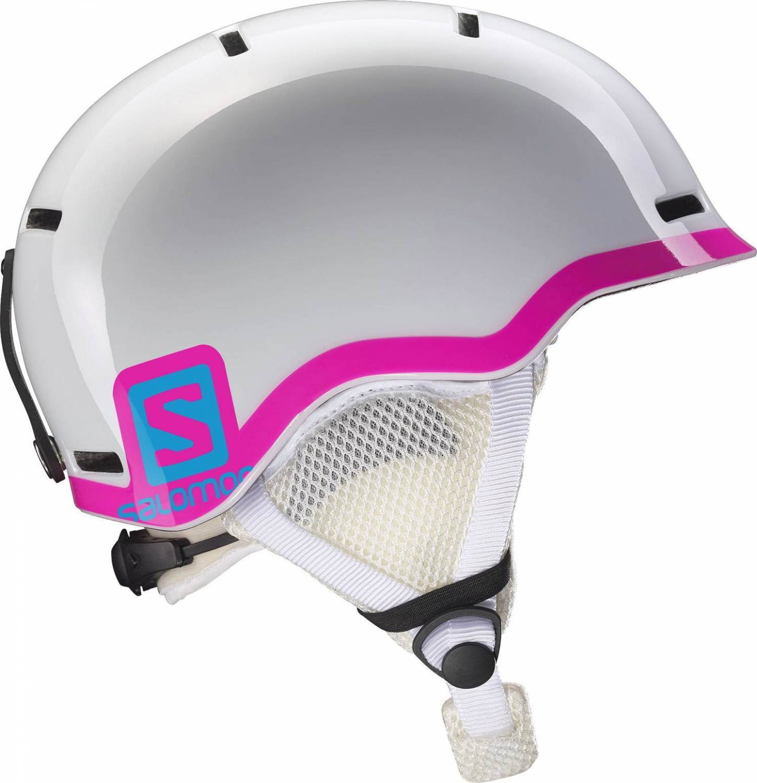 Salomon Grom Kinderskihelm (Größe 53 56 cm, white glossy pink)