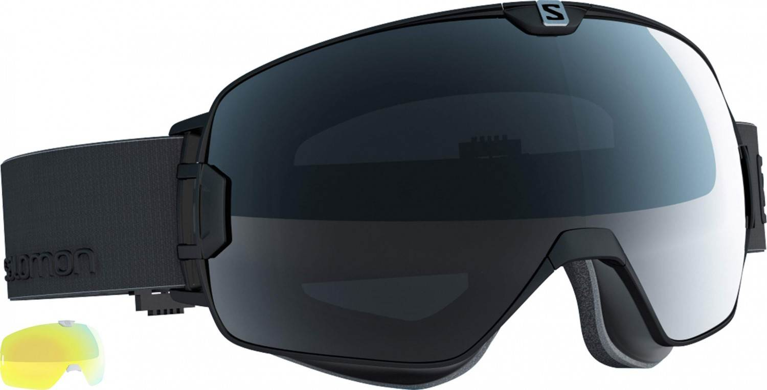 Salomon XMAX Skibrille sphärisch (Farbe: black, Scheibe: multilayer solar black + light yellow)