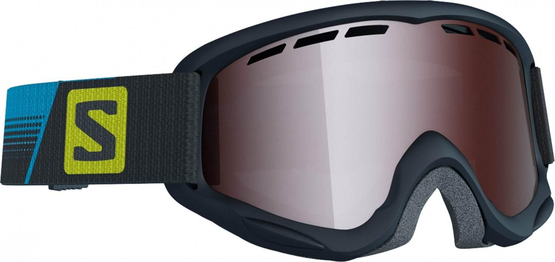 Salomon Juke Kinderskibrille (Farbe black racing, Scheibe tonic orange mirror silver)