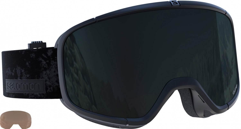 Salomon Four Seven Skibrille mit Extrascheibe (Farbe: black, Scheibe: solar black + tonic orange)