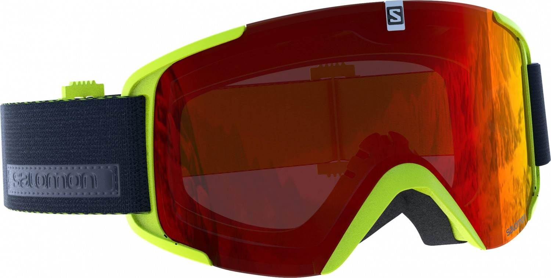Salomon XView Allround Skibrille (Farbe: acid lime, Scheibe: universal red)
