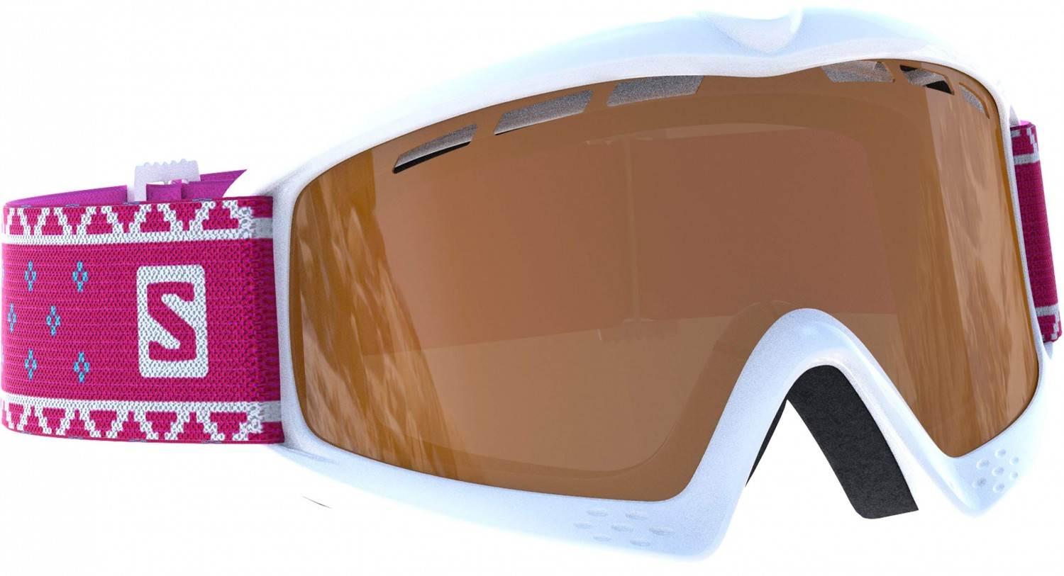 Salomon Kiwi Access Kinderskibrille (Farbe white, Scheibe universal tonic orange)