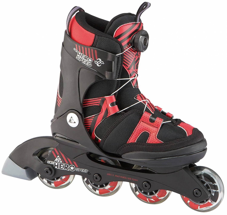 K2 SK 8 Hero Speed Boa Junior Inlineskates (Größe 29.0 34.0 = S, 900 schwarz rot)
