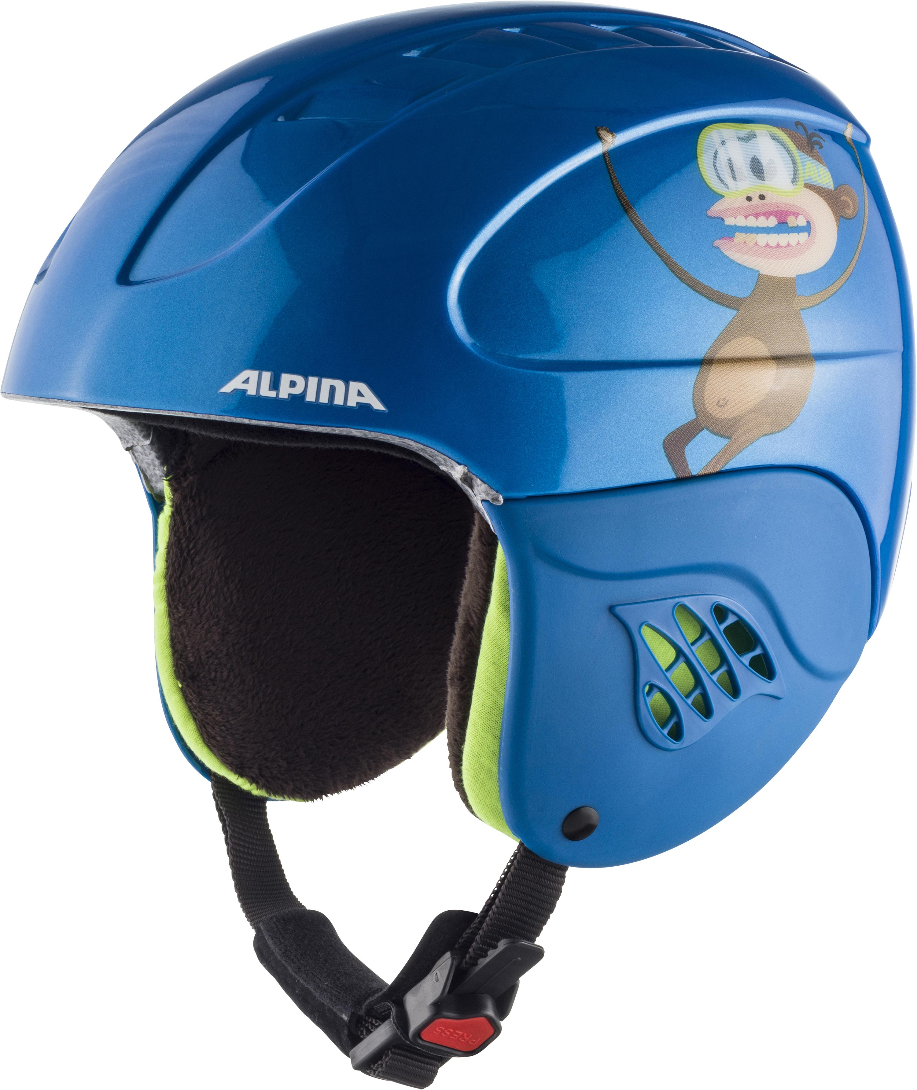 Alpina Carat Kinder Skihelm (Größe 54 58 cm, 49 blue monkey)