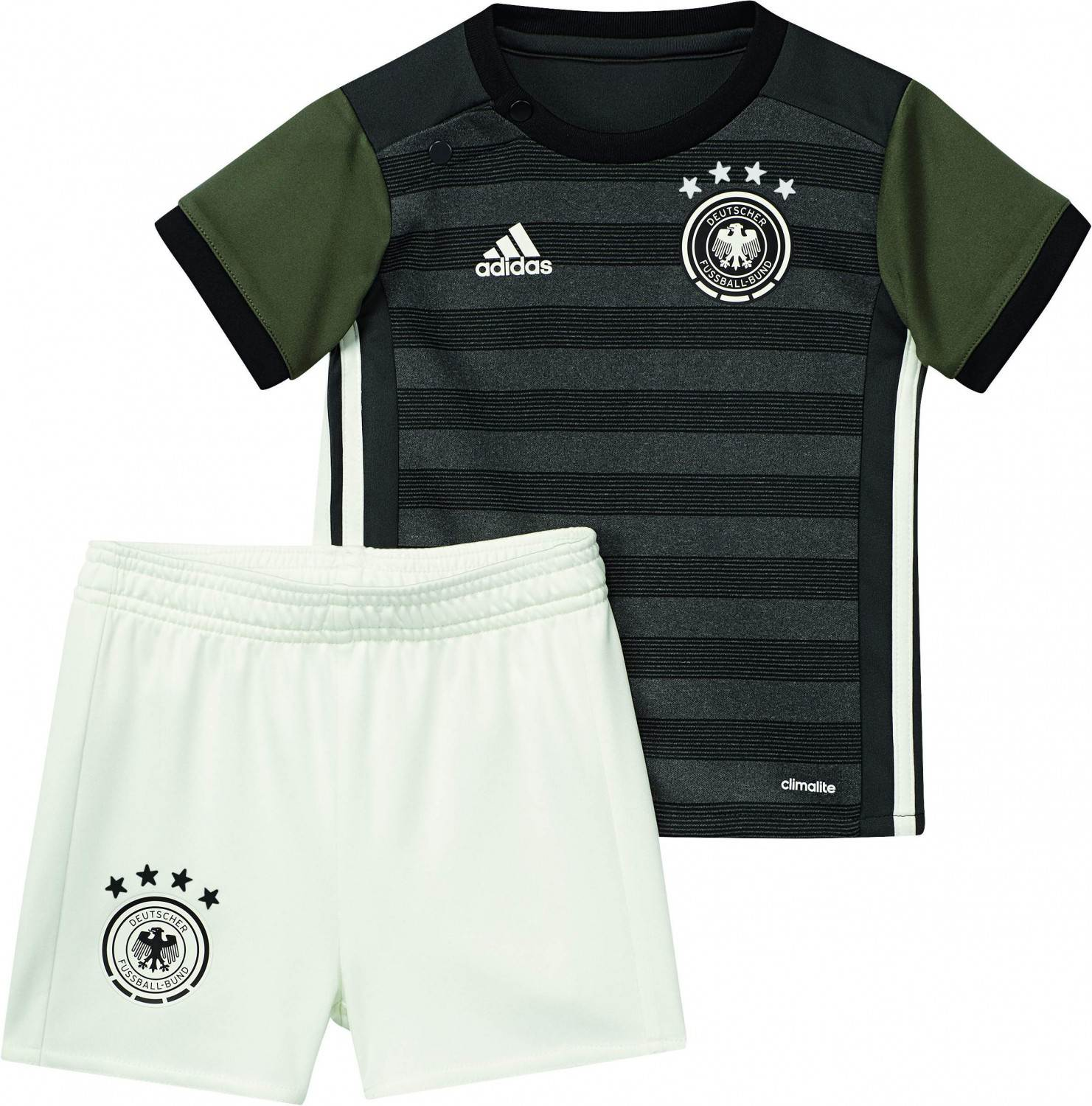 adidas DFB Away Baby Kit Auswärtsset (Größe 74, dark grey heather off white base green s15)