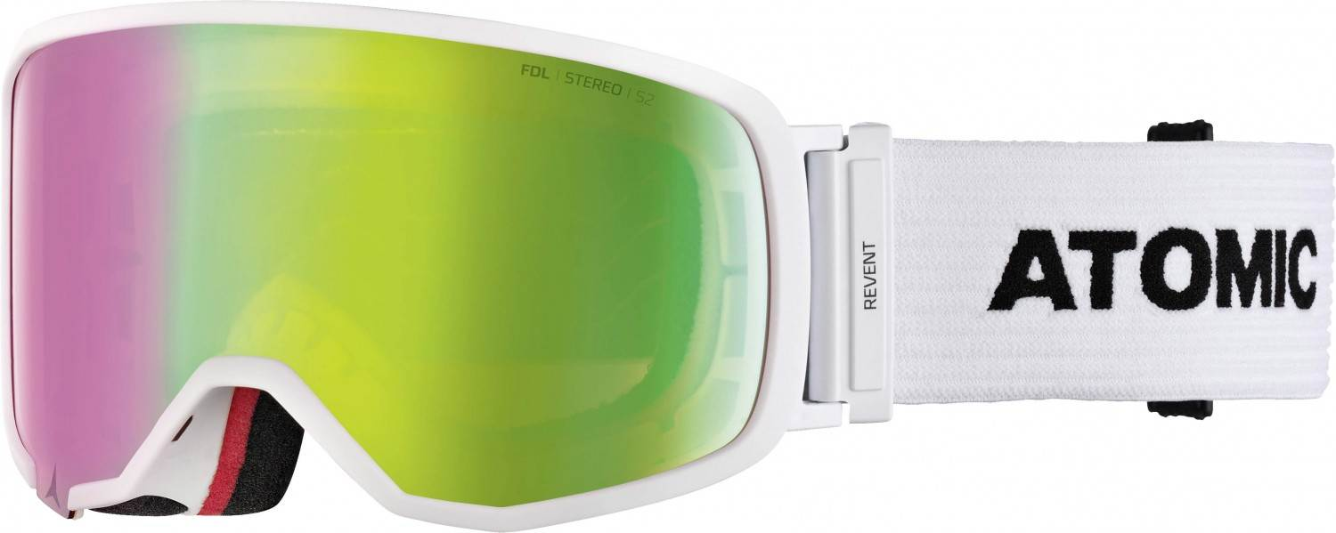 Atomic Revent S Stereo Skibrille (Farbe: white, Scheibe green stereo)