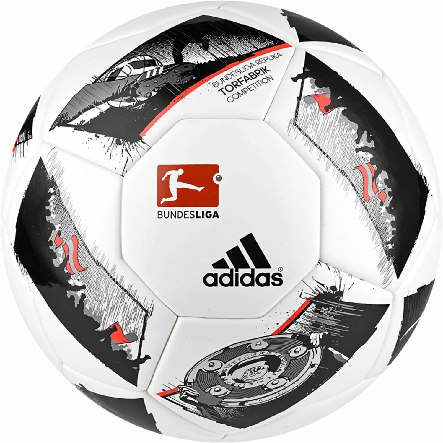 adidas DFL Torfabrik 2016 Competition (Größe: 4, white/black/solar red)
