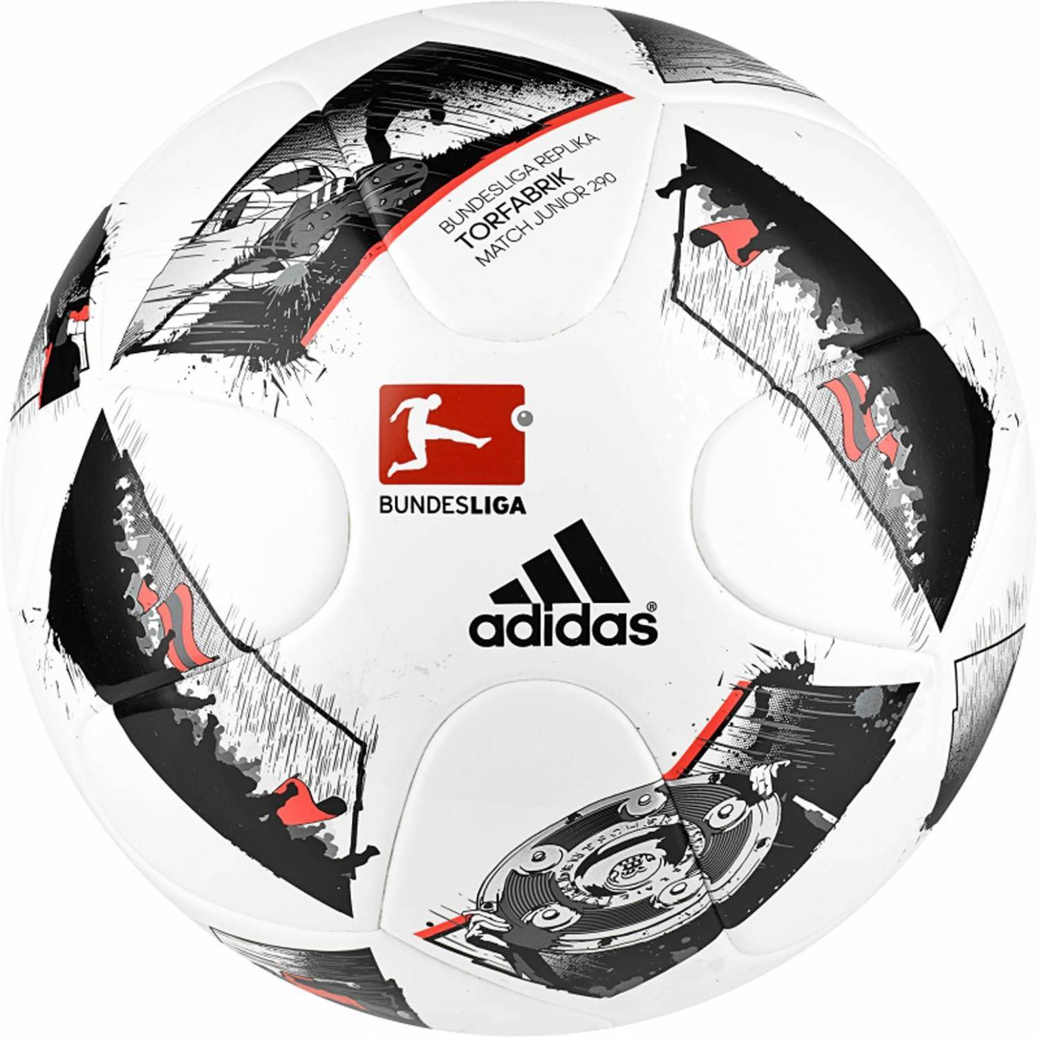 adidas Torfabrik 2016 Junior 290 Kinderfußball (Größe: 4, white/black/solar red)
