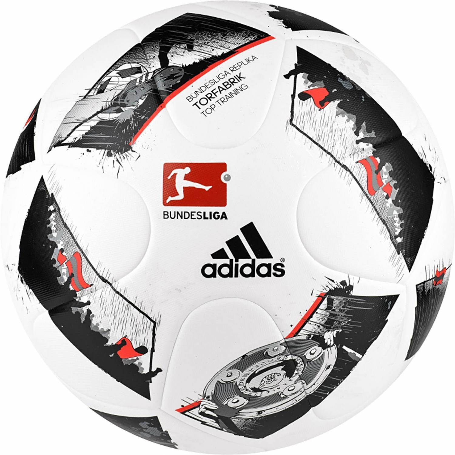 adidas DFL Torfabrik 2016 Top Training Trainingsball (Größe: 5, white/black/solar red)