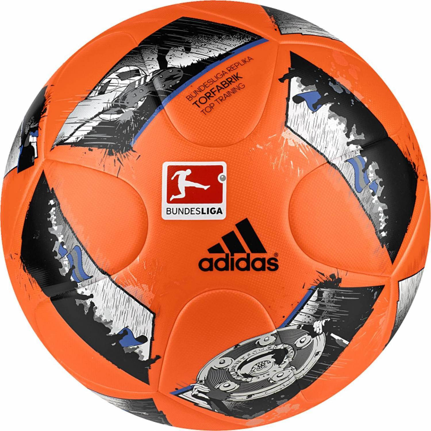 adidas DFL Torfabrik 2016 Top Training Trainingsball (Größe: 5, solar orange/blue/black)