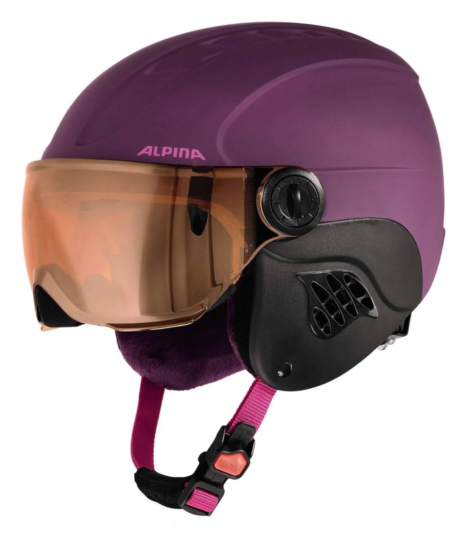 Alpina Carat Le Visor Kinderskihelm (Größe 51 55 cm, 51 violet matt)