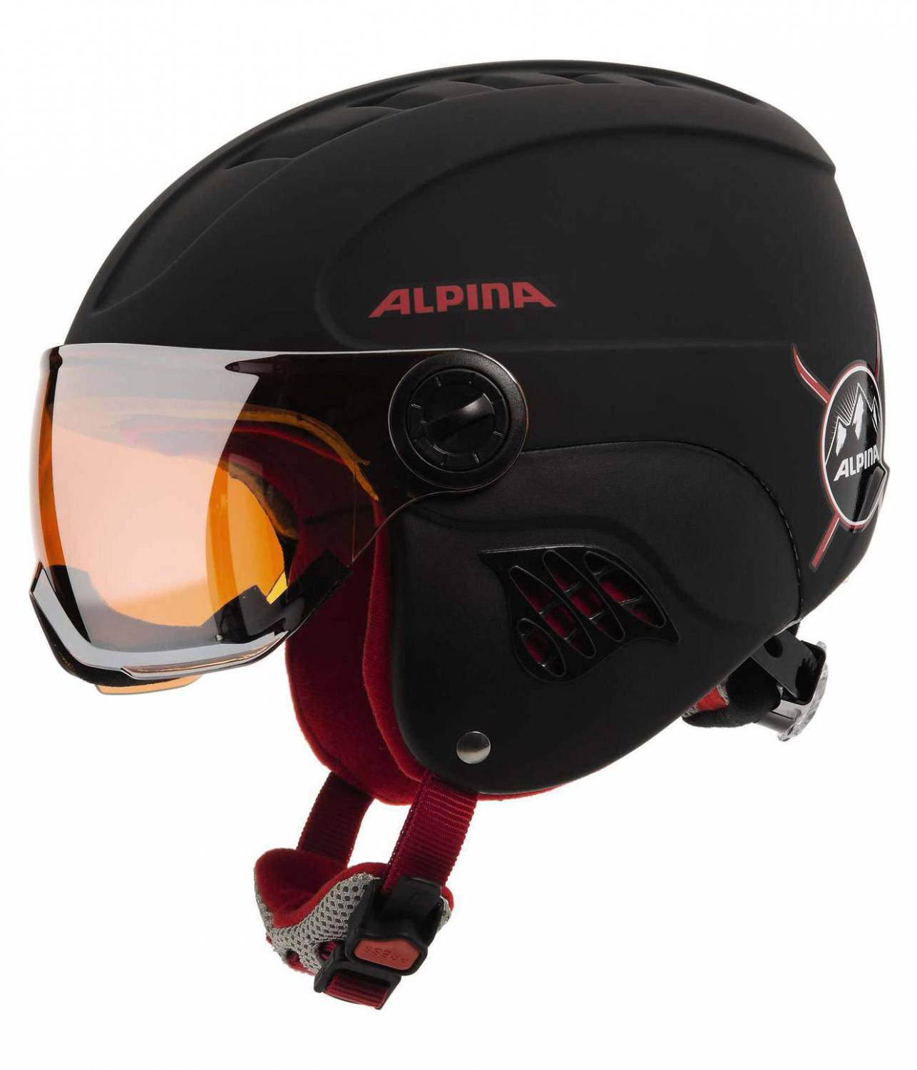 Alpina Carat Le Visor Kinderskihelm (Größe 54 58 cm, 30 black red matt)