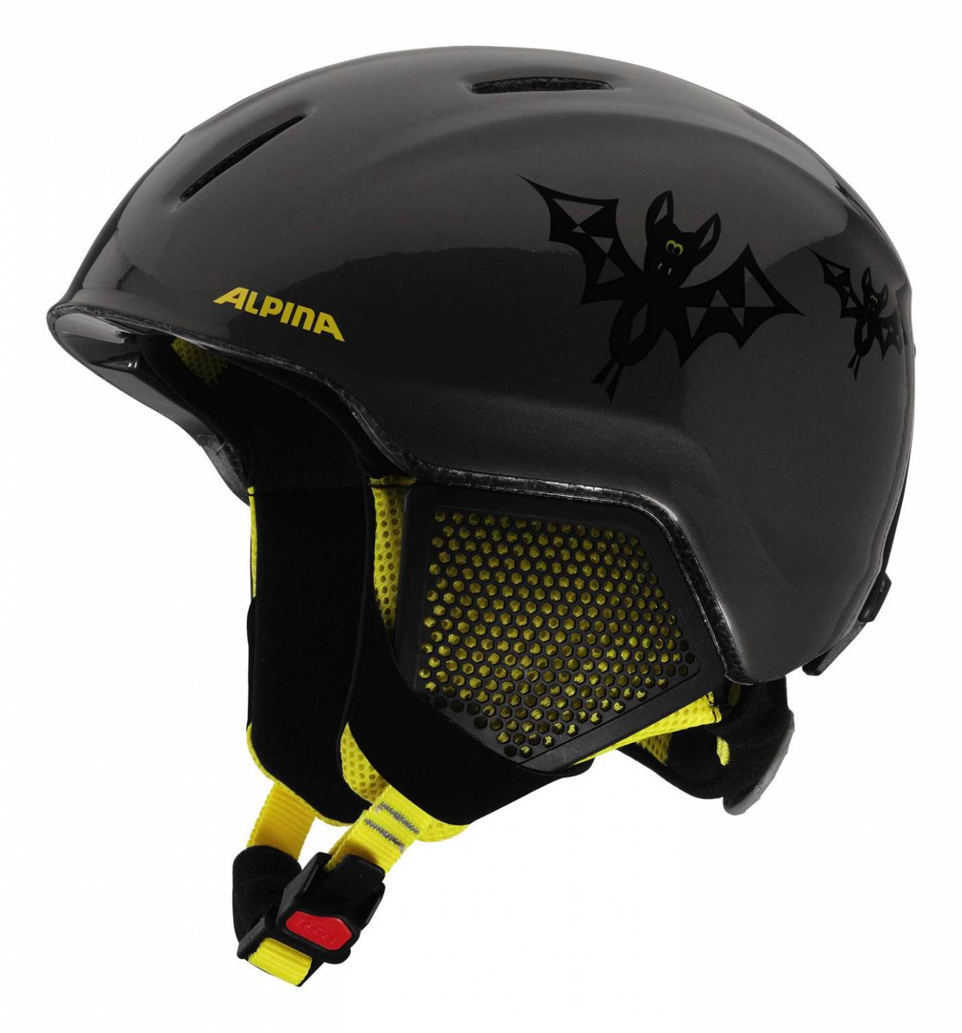 Alpina Carat LX Kinderskihelm (Größe 48 52 cm, 45 auba black yellow)