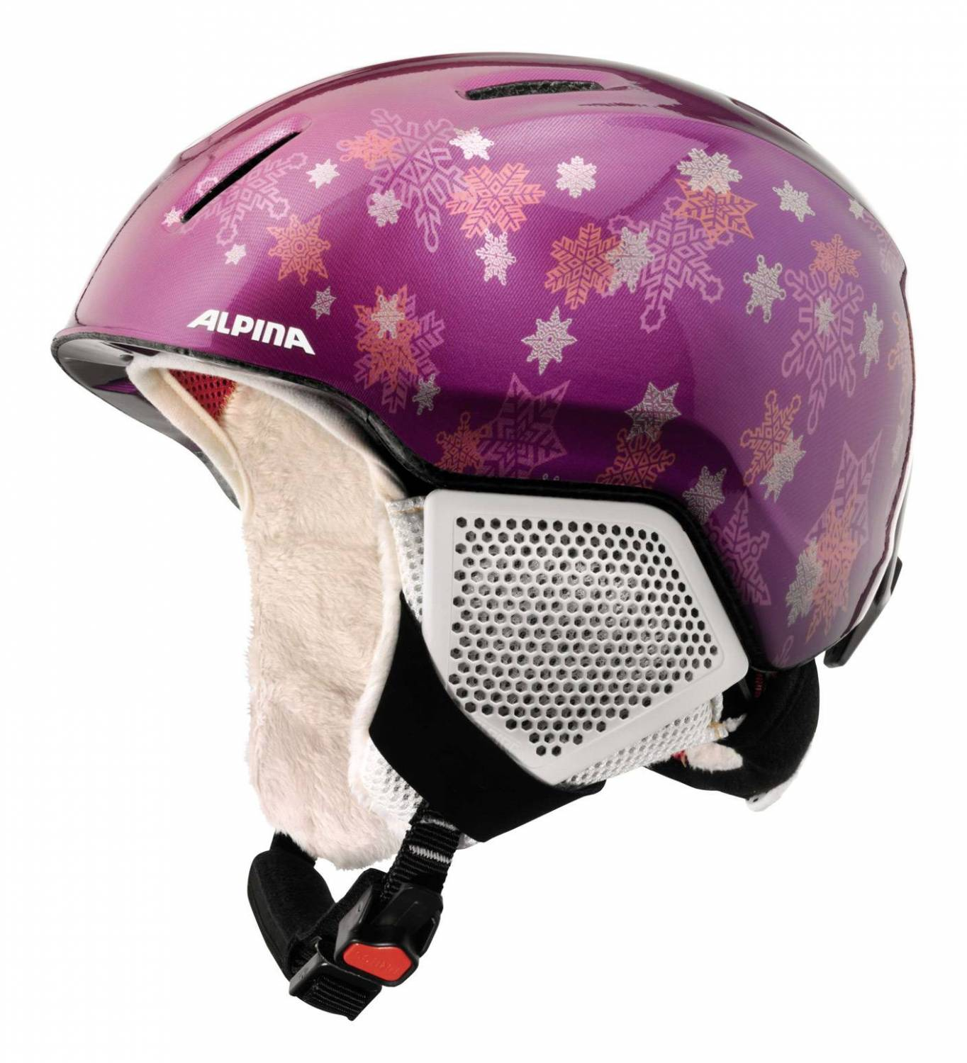 Alpina Carat LX Kinderskihelm (Größe 51 55 cm, 52 purple star)