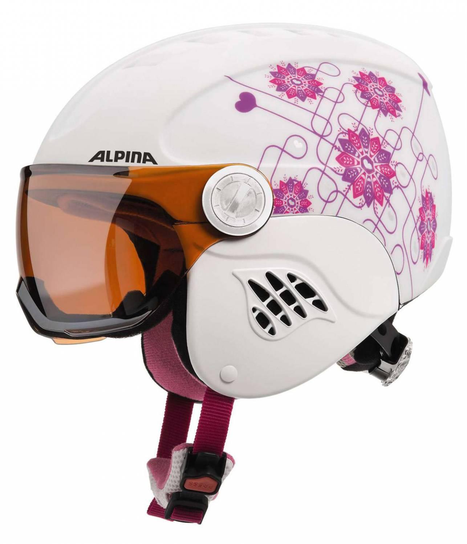 Alpina Carat Visor Kinderskihelm (Größe 51 55 cm, 15 white pink)