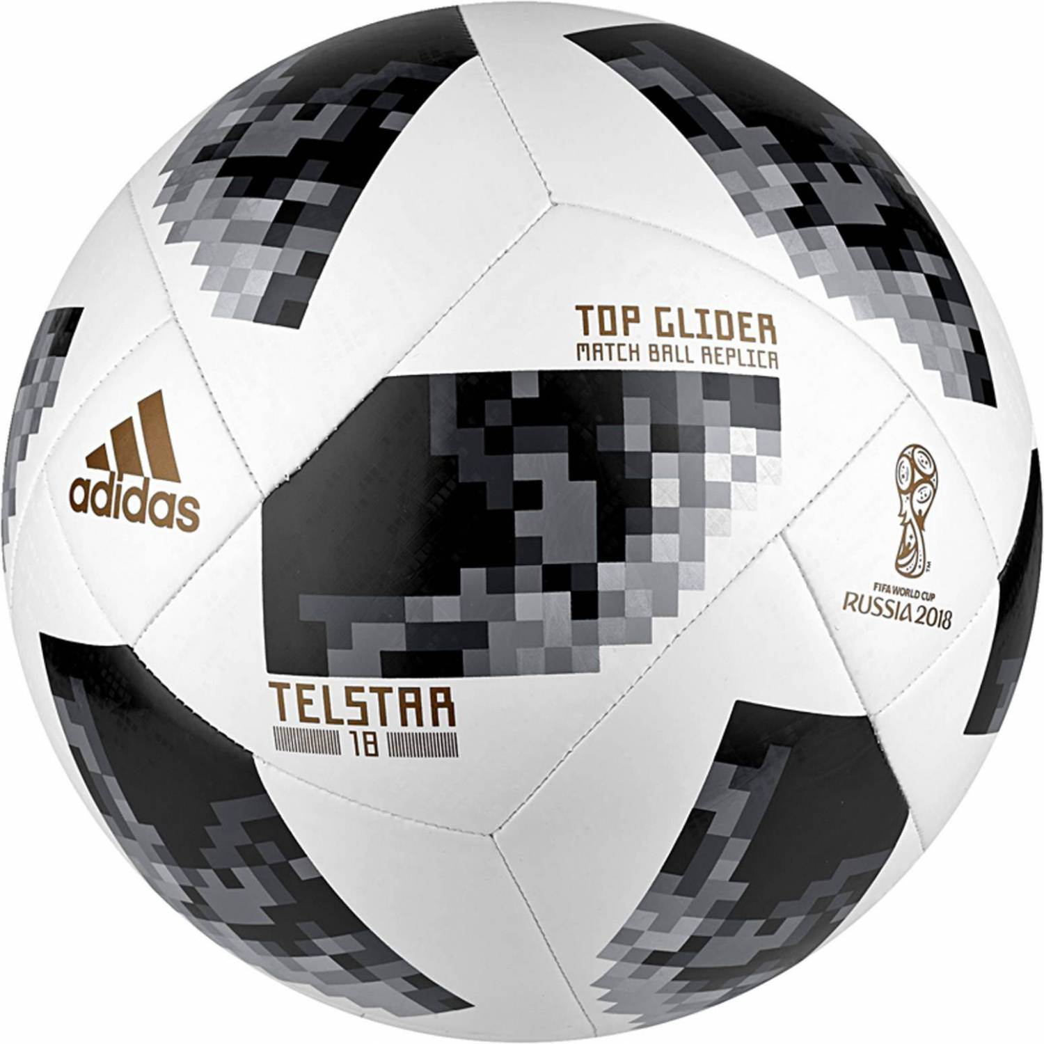 adidas World Cup Top Glider Fußball (Größe: 4, white/black/silver metallic)